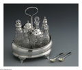 Silver Holloware, British:Holloware, An English Silver and Glass Cruet Set. Mark of Solomon Hougham,London, England, 1806. The silver cruet set includes eight...(Total: 9 Items)