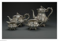 Silver Holloware, British:Holloware, An English Silver Tea and Coffee Service. Maker unknown, London,England, Early to Mid-Nineteenth Century. The repousse se...(Total: 4 Items)
