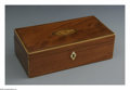 Decorative Arts, British:Other , An English Wooden Box. Maker unknown, 1790. The mahogany box withinlaid marquetry pattern shell to the lid, ivory escutch... (Total:2 Items)