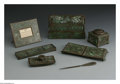 Silver Holloware, American:Desk Accessories, An American Bronze and Glass Desk Set. Mark of Tiffany Studios, NewYork, NY, Early Twentieth Century. The set includes a ... (Total: 7Items)