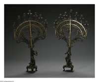 A Pair of Continental Bronze Candelabra Maker unknown, Early Twentieth Century  The Art Nouveau-style seven branch cande...