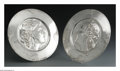 Silver Holloware, Continental:Holloware, Two German Silver-Plate Plaques. Mark of WMF, Geislingen, Germany,c.1900. The matching pair of Art Nouveau plaques, stamp... (Total:2 Items)