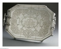 Silver Holloware, American:Trays, An American Silver Plate Tray. Maker unknown, Late NineteenthCentury. The geometric presentation tray with 'dolphin' feet...