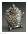 Silver Holloware, American:Other , An American Silver Mustard Pot. Mark of S. Kirk & Sons,Baltimore, MD, c.1865. The Egyptian motif repousse mustard potwit...