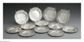 Silver Holloware, American:Plates, Twelve American Silver Plates. Mark of Black, Starr & Frost,New York, NY, Late Nineteenth Century. The floral repousse bo...(Total: 12 Items)