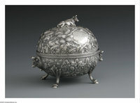 An American Silver Covered Butter Dish Mark of Kennard & Jenks, Boston, MA, c.1875  The repousse bowl and lid, t...
