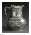 Silver Holloware, American:Water Pitchers, An American Silver Water Pitcher. Mark of Tiffany & Co., NewYork, NY, 1853. The bulbous pitcher decorated with a repousse...