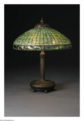 Art Glass:Tiffany , An American Glass and Bronze Lamp. Tiffany Studios, Early TwentiethCentury. The Favrile glass domed shade with Turtleback... (Total: 2Items)