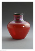 Art Glass:Tiffany , An American Art Glass Vase Tiffany Studios, c.1900 The 'Tel ElArmana' vase of bulbous form in a red iridescent ground, ...