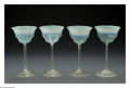 Art Glass:Tiffany , Four American Glass Goblets. Tiffany Studios, c.1900. The four'Favrile' goblets with swirled opalescent foot and green bo...(Total: 4 Items)