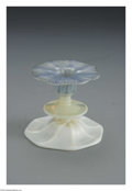 Art Glass:Tiffany , An American Glass Candlestick. Tiffany Studios, c.1900. The paleyellow to mottled blue 'onion skin' candlestick, unsigned...