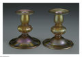 Art Glass:Tiffany , A Pair of American Glass Candlesticks. Tiffany Studios, c.1900. The'Favrile' glass amber candlesticks, marked underside
