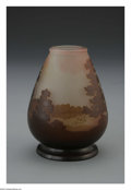 Art Glass:Galle, A French Glass Vase. Emile Galle, c.1900. The vase in a ground ofetched clear to pale pink, overlaid in brown and etched ...