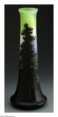 Glass, A French Glass Vase. Emile Galle, c.1900. The four-color scenic vase overlaid and etched to depict a mountain scene, signe...