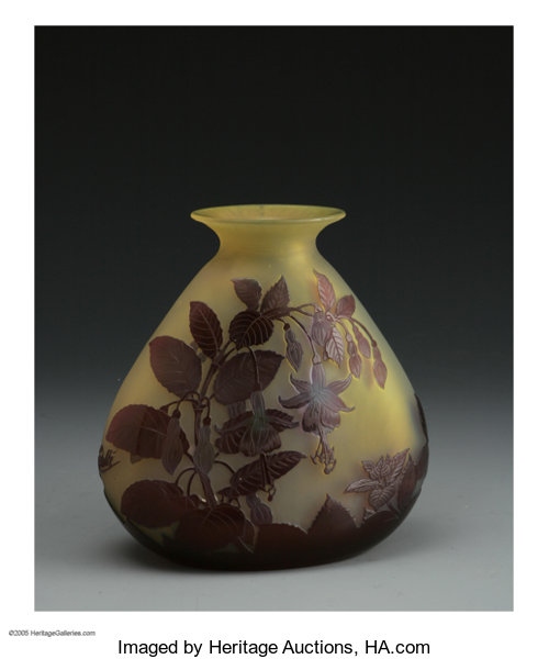 A French Glass Vase Emile Galle C1890 The Yellow Ground Lot