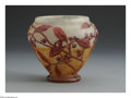 Art Glass:Daum, A French Glass Vase. Daum Nancy, c.1900. The vase, internallydecorated in mottled sienna to clear, enamel decoration of b...