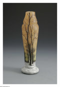 Glass, A French Glass Vase. Daum Nancy, c.1900. The scenic vase internally decorated in mottled yellow to sienna, enamel decorati... (Total: 1 Item Item)
