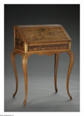 Furniture: French, A French Marquetry Writing Desk. Emile Galle, Late Nineteenth Century. The drop front desk of Burled Elm wood with floral ...