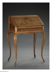A French Marquetry Writing Desk Emile Galle, Late Nineteenth Century  The drop front desk of Burled Elm wood with floral...