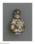 Art Glass:Webb, An English Glass Lay-Down Scent Bottle. Thomas Webb & Sons,c.1884. The amber bottle overlaid in ivory and etched to depic...