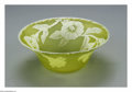 Art Glass:Webb, An English Cameo Glass Bowl. Thomas Webb & Sons, c.1890. Theyellow bowl overlaid with a pattern of white Morning Glory fl...