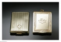 Estate Jewelry:Other , Two Gold Card Cases. A 14K rose gold card case, engraved to thefront, blue enamelling to the border edge, central design ...(Total: 2 Items)