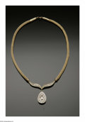Estate Jewelry:Necklaces, A Ladies 14K Yellow Gold Fancy Multi-Diamond Necklace With PearShaped Champagne Colored Diamond. The 16 inch round mesh n...