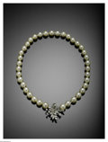 """Jewelry, A Cultured Pearl Strand With A 14K White Gold And Diamond Clasp. The 14"""" strand weighing 33.8 gms strung with 37 pearls 8 ... (Total: 1 Item Item)"""