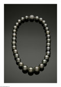 Estate Jewelry:Pearls, A South Sea 17 Inch Pearl Strand with 18K Diamond Pave' Clasp. Thestrand weighing 108.4 gms strung with 31 pearls, 12-15....