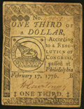 Colonial Notes:Continental Congress Issues, Continental Currency February 17, 1776 $1/3 Fine-Very Fine.. ...