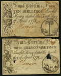 Colonial Notes:South Carolina, South Carolina April 10, 1778.. 3s 9d VF;. 10s Fine.. ... (Total: 2notes)