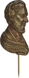 Political:Ferrotypes / Photo Badges (pre-1896), Abraham Lincoln: Outstanding Figural Stickpin....