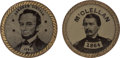 Political:Ferrotypes / Photo Badges (pre-1896), Abraham Lincoln and George McClellan: A Terrific Matched Pair of1864 Dated Ferrotypes....
