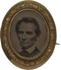 Political:Ferrotypes / Photo Badges (pre-1896), Abraham Lincoln: Oval Ferrotype Brooch....