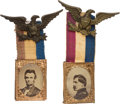 Political:Ferrotypes / Photo Badges (pre-1896), Abraham Lincoln and George McClellan: A Very Choice Matched Pair of1864 Photo Badges....