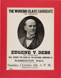 "Political:Posters & Broadsides (1896-present), Eugene V. Debs: Truly Delectable ""Working Class Candidate""Poster...."
