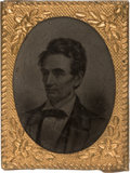 Political:Ferrotypes / Photo Badges (pre-1896), Abraham Lincoln: Unusual Gem Ferrotype....