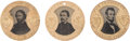 Political:Ferrotypes / Photo Badges (pre-1896), Abraham Lincoln, George McClellan and John C. Frémont: A StunningPristine Matched Set of 1864 Ferrotypes.... (Total: 3 Items)