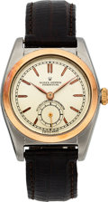 Timepieces:Wristwatch, Rolex Ref. 5008 Steel & Pink Gold Bubble Back, circa 1949. ...