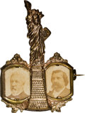 "Political:Ferrotypes / Photo Badges (pre-1896), Blaine & Logan: Outstanding ""Statue of Liberty"" Jugate Pin...."