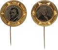 Political:Ferrotypes / Photo Badges (pre-1896), Ulysses S. Grant and Horace Greeley: Matching FerrotypeStickpins....