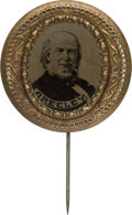 Political:Ferrotypes / Photo Badges (pre-1896), Horace Greeley: Bold Ferrotype Stickpin....