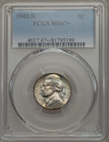 Jefferson Nickels, 1942-S 5C MS67+ PCGS. PCGS Population: (110/0 and 14/0+). NGC Census: (1337/4 and 0/0+). Mintage 32,900,000. ...