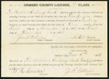Obsoletes By State:Nevada, Carson City, NV- Ormsby County License 1st Class for the Bullion & Exchange Bank $25 Nov. 2, 1888. ...