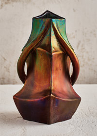 Jérôme Massier (French, 1771-1930) Triangular Vase, 1900 Lustre glazed earthenware 10 inches high