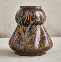 Jérôme Massier (French, 1771-1930) Fish and Eel Vase, 1904 Lustre glazed earthenware 9 inches hig