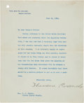 Autographs:U.S. Presidents, Theodore Roosevelt Typed Letter Signed to Senator Shelby Cullom....