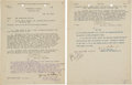 Autographs:Military Figures, George S. Patton Typed Communications (2) Signed....