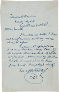 Autographs:Authors, Charles Dickens Autograph Letter Signed...