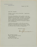 Autographs:U.S. Presidents, Harry Truman Typed Letter Signed to Norman Cousins....